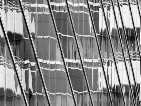abstract glass building with reflection black and white style Banco de Imagens