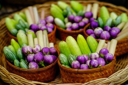 Herbal vegetables on basket Stock Photo