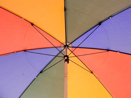 under old colorful umbrella