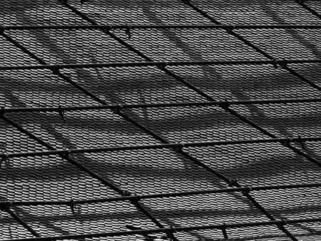 Scaffolding on the roof of the temple black and white style