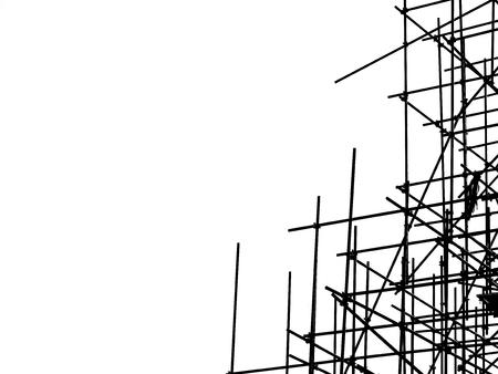 silhouette scaffolding elements black and white Archivio Fotografico