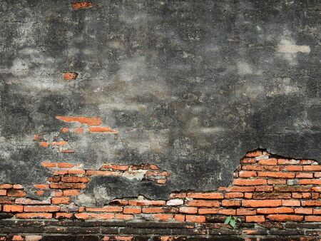 Cracks in the ancient brick wall in the archaeological site Imagens