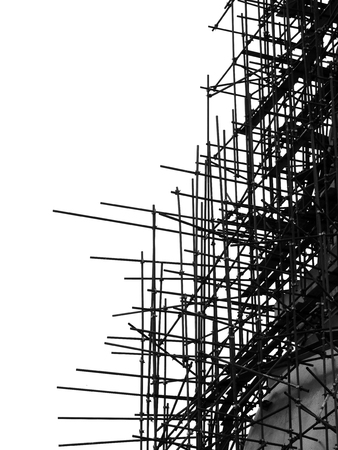 silhouette scaffolding elements black and white Фото со стока