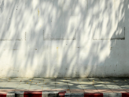 aged street wall with shade of tree