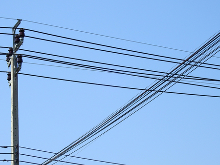 street electric pole with blue sky background