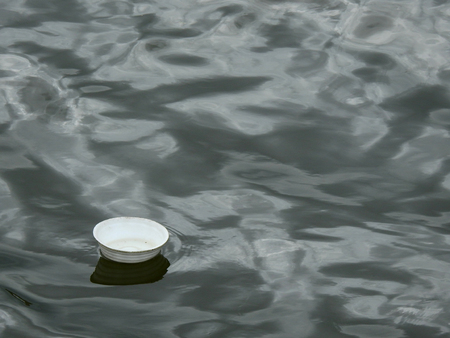Foam bowl on water in the river