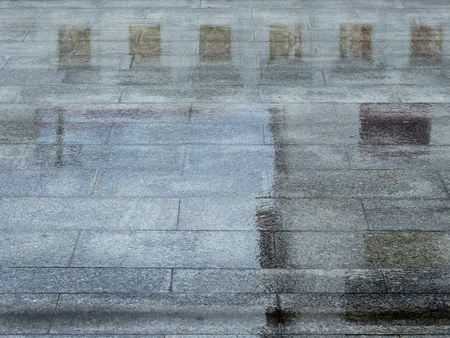 wet stone floor with water reflection after rain in temple Thailand Stockfoto