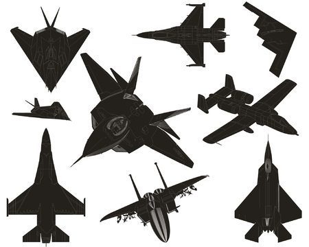 High detail military plane silhouettes Vector