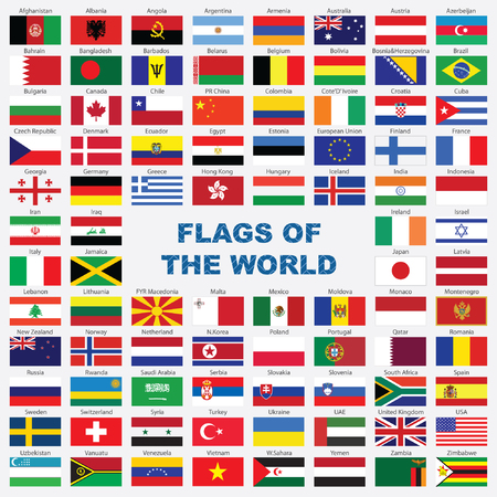 Sorted flags of the world with detailed emblems Stock Vector - 5027385
