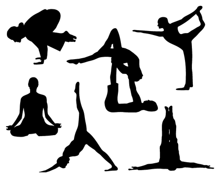 Yoga silhouettes vector Illustration