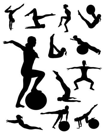 Pilates women silhouettes vector Vector