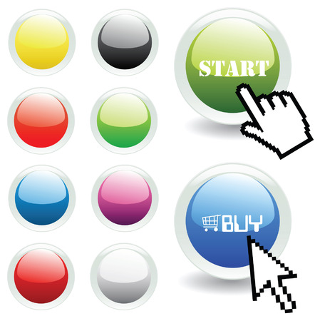 surfing the net: Vector glossy buttons with mouse and hand pointer