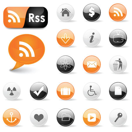 Web icons and RSS symbols Vector