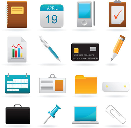 Vector set of office web elements Illustration