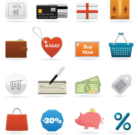 subtract: Vector set of shopping web elements