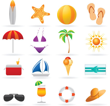 Summer and travel icon set Vector