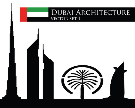 dubai: Dubai architecture vector set Illustration