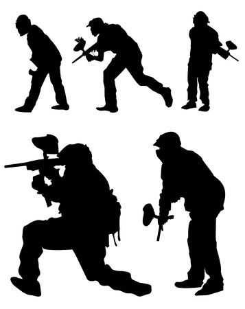 Paintball silhouettes vector Vector