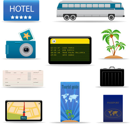 Summer and travel icon set Illustration