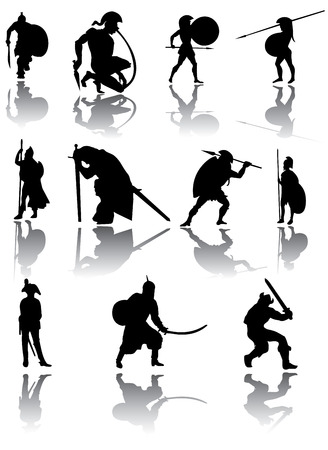 gladiator: Warriors silhouettes vector