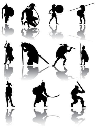 ancient civilization: Warriors silhouettes vector