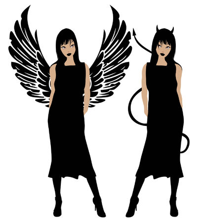 good and bad: Angel and devil