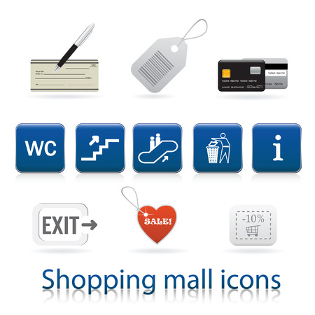 shopping center interior: Shopping mall icons