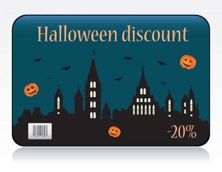 prepaid card: Halloween discount card vector