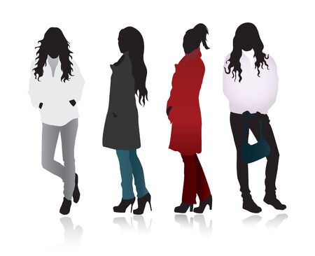 different figures: Girls illustration