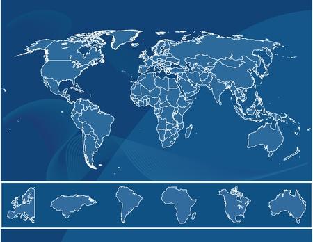 mapa de europa: Mapa del mundo Vectores