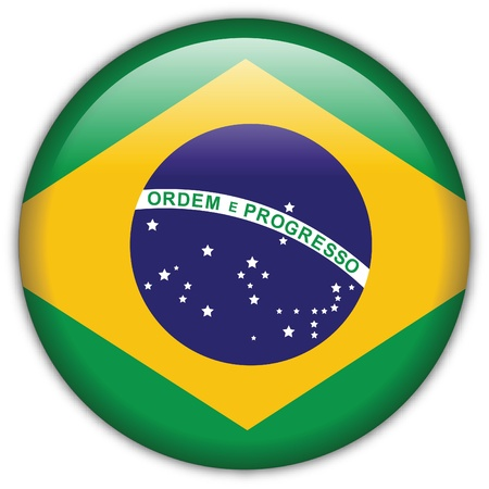 metal buttons: Brazil flag icon Illustration