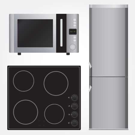 Ceramic stove, refrigerator and microwave Vector