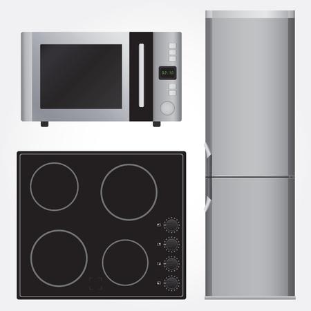 Keramische kookplaat, koelkast en magnetron