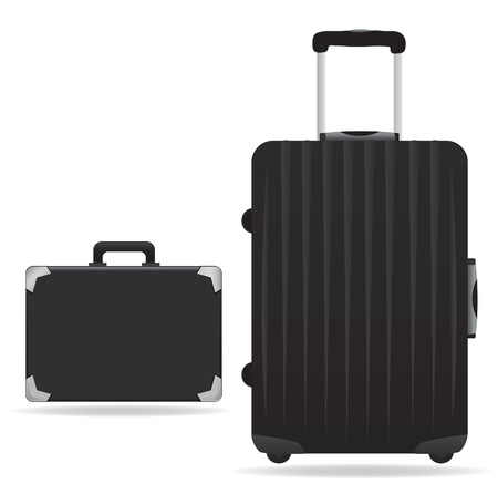 black briefcase: Black briefcase and suitcase