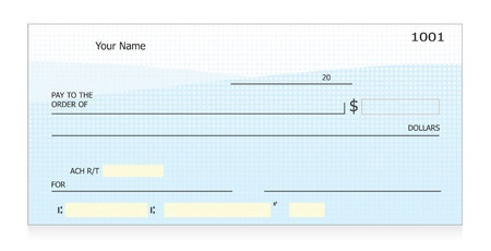 cheque en blanco: Vector de cheque en blanco Vectores
