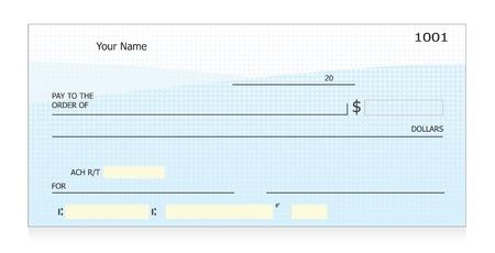 personal banking: Vettore di assegno in bianco Vettoriali