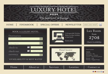 luxury travel: Dise�o de plantilla del sitio Web de Hotel