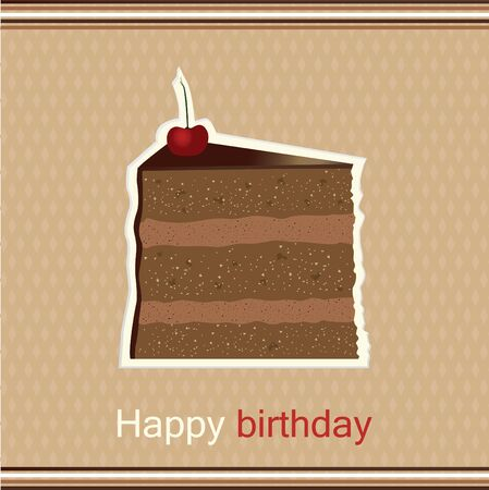 Happy birthday greeting card with slice of cake with a cherry on top Illustration