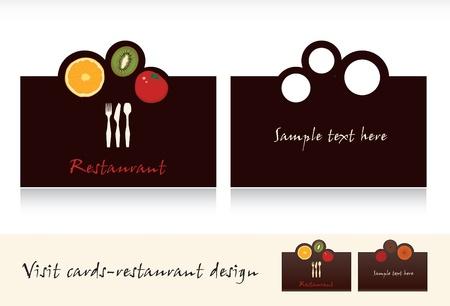 Tarjeta de visita de diseño de tarjetas de visita para el vector de restaurante Ilustración de vector