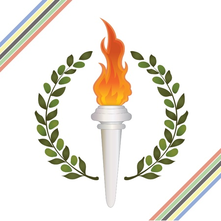 Burning Olympic torch and olive wreath