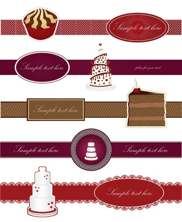 Vector set labels with sweet cakes