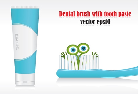 Illustration of germ peeping from bristle of tooth brush vector