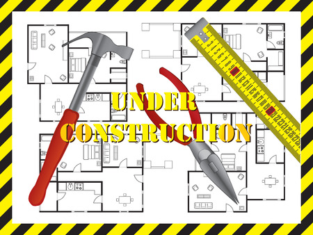house construction: Under construction background with floor plan of a house Illustration