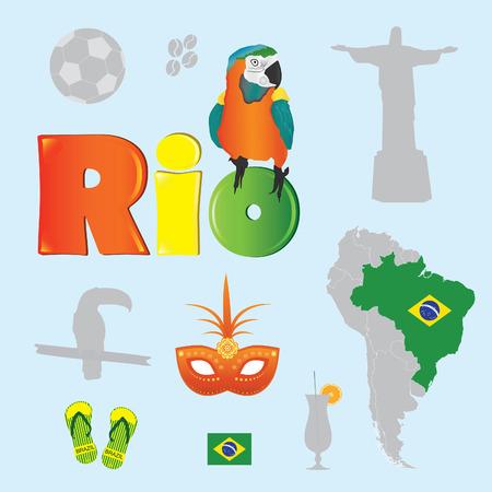 Brazil elements set vector Illustration
