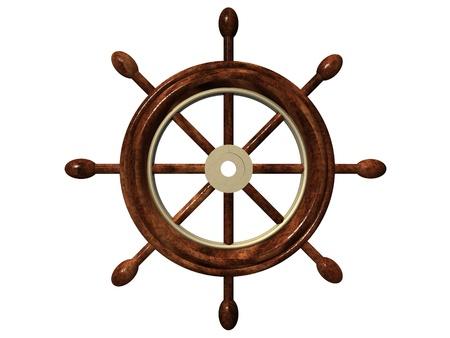 timone: barca ruota e sfondo bianco Archivio Fotografico