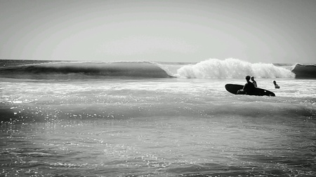white: A curling wave at a beach in Costa Rica