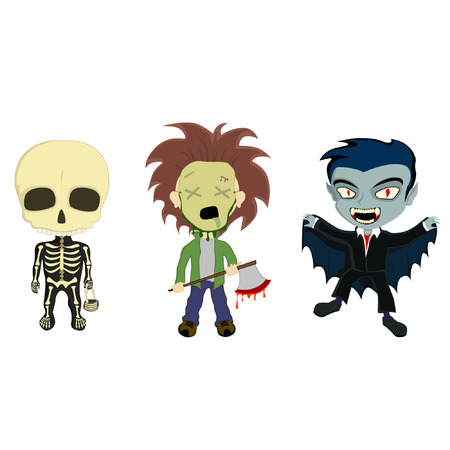 illustration of 3 kids in halloween costumes, a skeleton with a basket, an axe murderer with a bloody axe and a vampire with a cape Vector