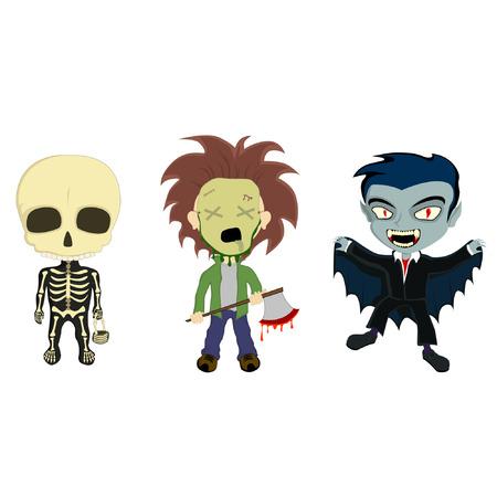 madman: ilustraci�n de 3 ni�os en trajes de Halloween, un esqueleto con una cesta, un asesino en serie con un hacha ensangrentada y un vampiro con una capa Vectores