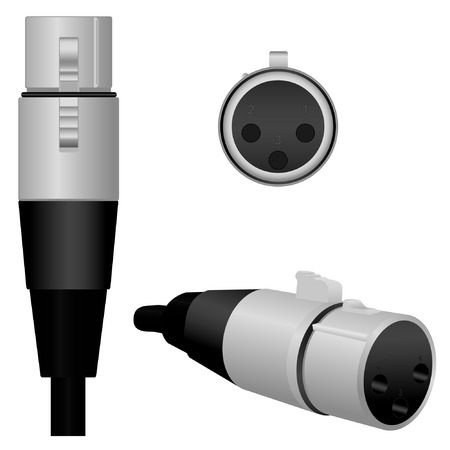 amplify: A semi-realistic vector illustration of a Female MicrophoneXLR connector from 3 different angles.  *Clipping masks are in use on some items.