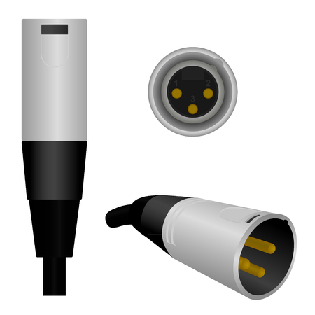 cabling: A semi-realistic vector illustration of a Male MicrophoneXLR connector from 3 different angles.  *Clipping masks are in use on some items.
